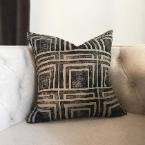 Home Decor // Hand block printed pillow in original pattern by Ruth + Rhoda (my shop) using IL01...