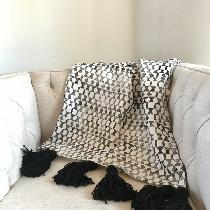 Hand block printed throw in original pattern with tassels by Ruth + Rhoda (my shop) using 4222 B...