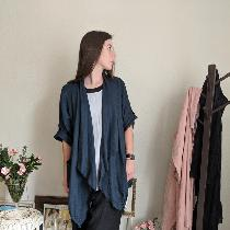 Loose fitting waterfall jacket IL020 Linen paired with loose fitting bloomer style pants made fr...
