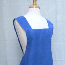 Indigo dyed, shibori embellished, cross back apron in mid weight linen.