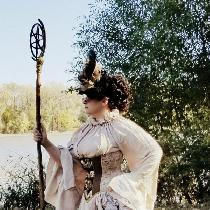 Costume Entry: Diagon Alley Apothacarian costume using many yards of white linen  for the tunic...