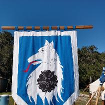Banner made of ILO19 Royal Blue and White, with Black and Crimson.