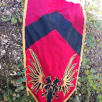 Banner for Mythic Adventures, made of ILO19 in Crimson, Black, and Autumn Gold. Layered applique...