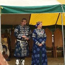Block printed Rus inspired garb made for the King and Queen of the Outlands to be worn for Battl...
