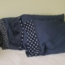 "4 yds of cobalt mid weight linen sewn into 6 standard size pillowcases using the ""burrito&q..."
