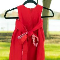 This little girl's dress is made from heavyweight linen, 4C22 Crimson.  I added the bow and side...