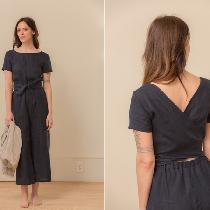 This is my short sleeve jumpsuit with a wrapped back, boat neck, elastic waist and a cropped wid...