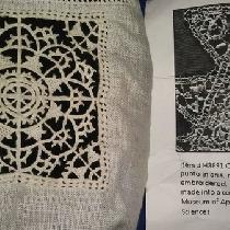 Reticella lace motif with extant lace the motif is based on in black and white on the right- lin...