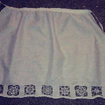Linen apron with reticella lace motifs based on extant lace pieces of the 1500s- done with linen...