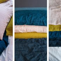 Hand dyed IL019 Soft Pink, Golden Olive and IL020 French Blue linen for pillow cases and sheets....