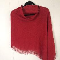 Open Weave IL041- Ruby used in this beautiful asymmetric poncho/topper. Exquisite hand, drape, s...
