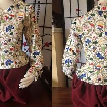 Hand embroidered, Elizabethan Polychrome waistcoat.  IL019 5.3 OZ 100% linen base. in Optic whit...