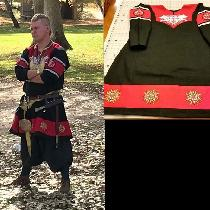 Reenactment/costume. Viking Tunic. Black / Fire Cracker Red.