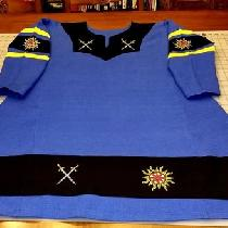 Viking Tunic, for the Atenveldt Cut-n-Thrust Champion, 2018. Embroidered with Suns and Crossed S...