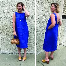 My favorite day to night dress. The high neck goes well with a cardigan at work -- and the scoop...