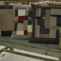 "Home Decor.  These 20"" decorative pillows were pieced using rustic and mid-weight linen wit..."