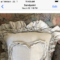 Raw edge ruffled linen pillow. So sweet with heart design!