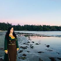 A Viking linen dress and apron dress made from Evergreen, Bamboo, Autumn Gold, and Chocolate. us...