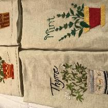Antique linen hand embroidered kitchen towels Drawn thread stitching.