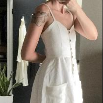 100% linen signature finish in Optic White.  Summer dress button front using coconut buttons. Ma...