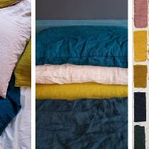 """Hand dyed IL019 Soft Pink, Golden Olive and IL020 French Blue linen for pillow cases and s..."