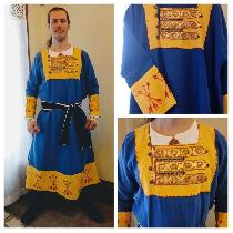 Reenactment/Costume category. This is a Rus Viking inspired tunic featuring block-printed design...