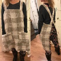 Pinafore Apron wear it to cook, to garden,, to do anything!  Large pockets. No buttons or hooks...