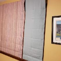 I love my Warm Window quilt Roman Shades. These are made with Fabric-store Meadow and IL019 and...