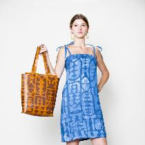 Indigo shift dress. Linen fabric was screen printed with a seaweed-based resist and then indigo...