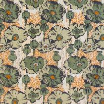 Jade Poppy Field Linen: Layered four color screen-printed linen print designed with hand drawn o...
