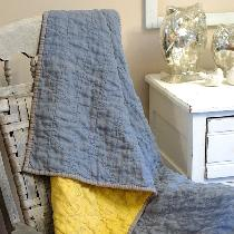 Wholecloth Linen Quilt - Home Decor Category - This wholecloth quilt is made using three colors...