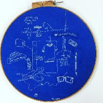 "White cotton thread on blue linen in 22"" embroidery hoop. Inspired by what I heard, saw, di..."