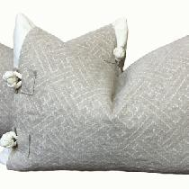 "These pillows feature white linen base pillow covers topped with natural linen jacquard ""ja..."