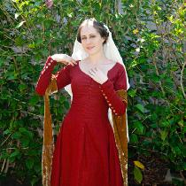 Red Linen Medieval Dress with White Linen Veil