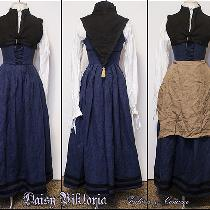16th century Flemish gown in blue linen with black linen contrasting bands, worn with a black li...