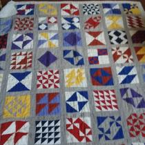 Sampler quilt, all linen with linen backing.