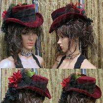 """Yvette"" hand dyed velveteen Top Hat by Lady Faie"