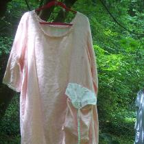 Tina Givens pattern in light pink middle weight linen with coordinating print pocket flap in cot...