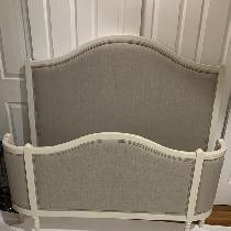 Vintage demi corbeille bed (circa 1933) - painted w/Fusion Mineral Paint (champlain) and upholst...