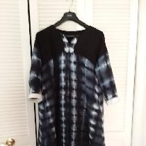 Shibori dyed bleached middle weight linen, dyed with Dharma fiber reactive Hot Black.