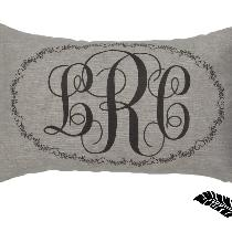 Monogram pillow done in 4C22 - Rustic - Bortovka Natural.