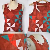 This Quilted Tank top was constructed using half square triangles cut from Fabrics Store linen c...