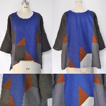 This Quilted Pullover was pieced together using Fabrics-Store linen colours Ultramarine, Graphit...