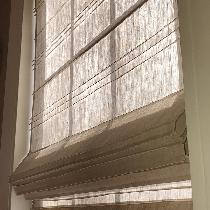 Pin Tuck Roman Shade using S003 MIX NATURAL Light (4.3 oz/yd2)  This wonderful linen is great fo...