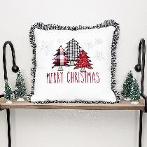 This adorable Christmas pillow cover is made 100% from the 4C22 optic white linen. The design wa...