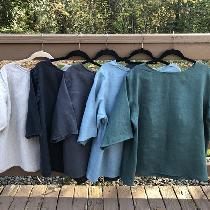 Linen tees in Natural, Black, Nine Iron, Lagoon and Malachite