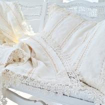 Lap throw of Linen with a Venice Lace border and matching pillow sham. Completely hand embroider...