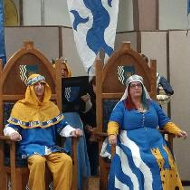 Investiture clothing for SCA Barony of Marcaster. The main blue is Ultramarine ILO19, hood and u...