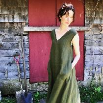 This is a self-drafted v-neck trapeze dress in 100% linen. It has a zip closure in back and is f...