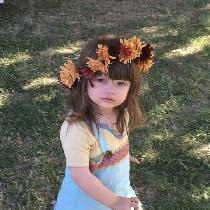Re-enactment/costume - Viking garb for a toddler girl. She is wearing pale green linen trousers,...